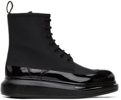 Black Coated Hybrid Lace-Up Boots