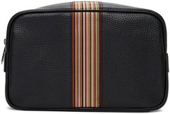 Black Signature Stripe Wash Bag