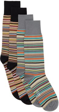 Two-Pack Black and Grey Signature Stripe Socks