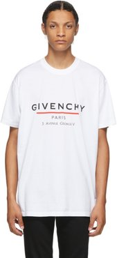 White Oversized Label Printed T-Shirt