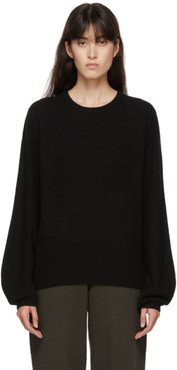Black Cashmere Mini R-Neck Sweater