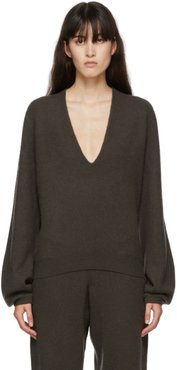 Green Cashmere Mini Deep V-Neck Sweater