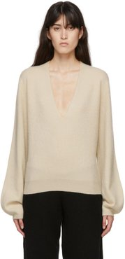 Off-White Cashmere Mini Deep V-Neck Sweater