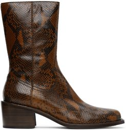 Brown Snake Zip-Up Boots