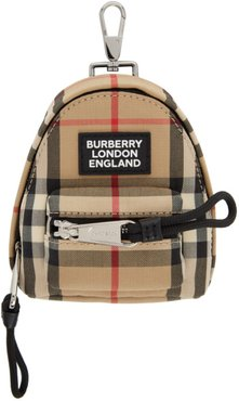 Beige Vintage Check Backpack Keychain