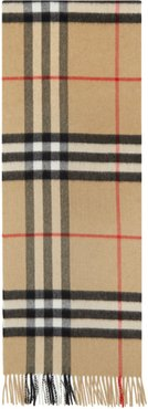 Tan Cashmere Check Giant Scarf