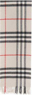 White Cashmere Check Giant Scarf
