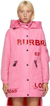 Pink Dartmouth Horseferry Print Rain Jacket