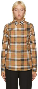 Beige Check Crow Shirt