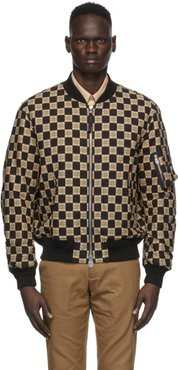 Black and Beige Checkered Brookland Bomber Jacket