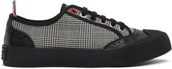Black and White Houndstooth Vulcanized Brogued Sneakers