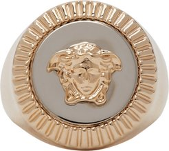 Gold and Silver Guilloche Medusa Signet Ring