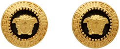 Black and Gold Small Medusa Coin Earrings