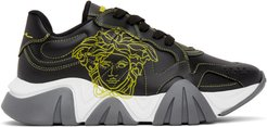 Black and Yellow Pop Medusa Low-Top Sneakers