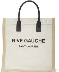 Off-White and Tan Rive Gauche Shopping Tote