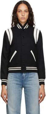 Black and Off-White Teddy Bomber Jacket