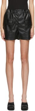 Black Faux-Leather Shorts