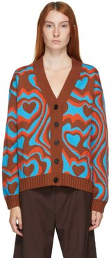 Brown and Blue Wool Cardigan