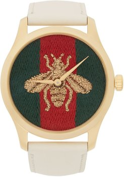 Gold and White Leather Bee G-Timeless Watch