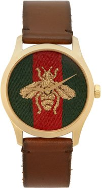 Gold and Brown Medium G-Timeless Bee Watch