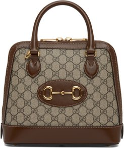 Beige and Brown GG Supreme Gucci 1955 Horsebit Top Handle Bag