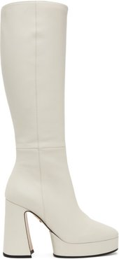 White Leather Knee-High Boots