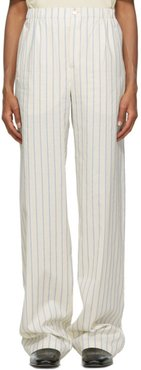 Off-White and Blue Antique Striped Trousers
