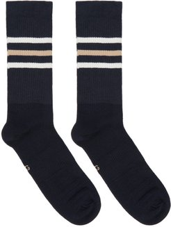 Navy and Beige Striped GG Socks