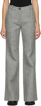 Grey Wool Flared Trousers