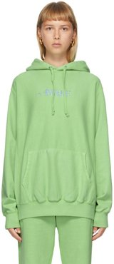 Green Embroidered Logo Hoodie
