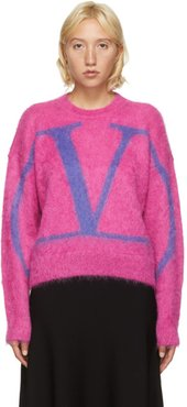 Pink Fluffy Mohair VLogo Sweater