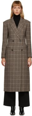 Brown Wool Check Double-Breasted Coat
