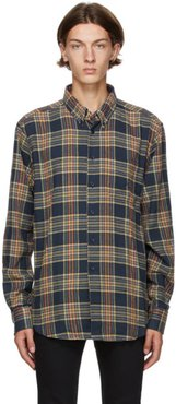Navy Silk Flannel Easy Shirt