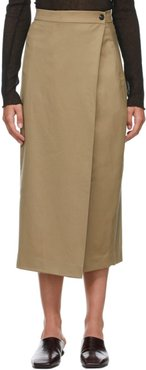 Beige Classic Pleats Wrap Skirt