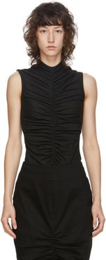 SSENSE Exclusive Black Sleeveless Ruch Front T-Shirt
