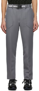 Grey Wool Belted Trousers