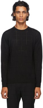 Black Wool Punched Check Sweater
