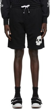 Black French Terry Skull Shorts