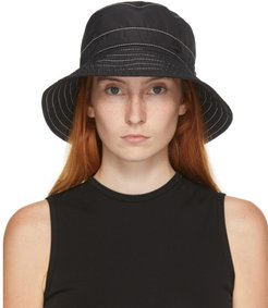 Black and White Topstitched Charlotte Bucket Hat
