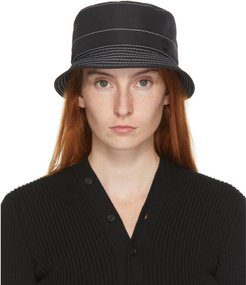 Black and White Topstitched Axel Bucket Hat