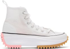 White and Pink Run Star Hike High Sneakers