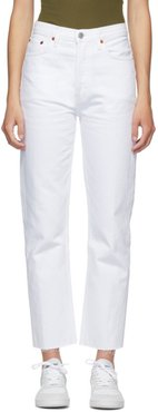 White High-Rise Stove Pipe Jeans
