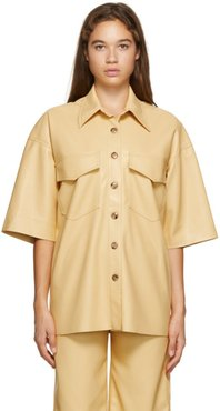 Yellow Vegan Leather Roque Short Sleeve Shirt