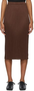 Brown Pleated Mid-Length Skirt