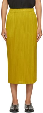 Yellow Pleated Mid-Length Skirt