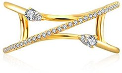 18K Yellow Gold Double Arrow Spiral Diamond Ring