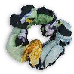 Pure Silk Scrunchie Pearls & Foliage - Black, Green & Yellow