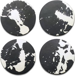 Set Of 4 Hand Poured Concrete Coasters In Black With White Splatter