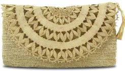 Elise Raffia Evening Clutch Bag In Natural Beige