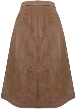 Recycled Brown Leather Cowhide Skirt